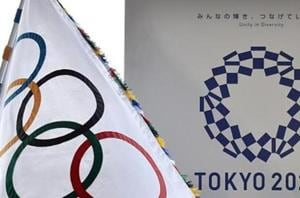 The Olympic flag (left) and the logo of the Tokyo 2020 Games.