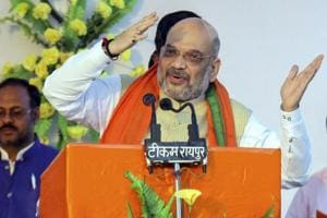 BJP President Amit Shah addresses a rally here in Madhya Pradesh ahead of the November 28 Assembly election.