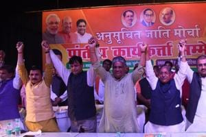 Senior BJP leaders at the workers' conference organised by SC Morcha of the party, in Patna on Sunday.