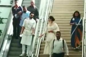 Ranveer Singh and Deepika Padukone spotted at the Bengaluru airport.