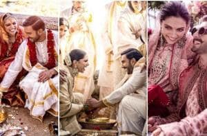 Deepika Padukone and Ranveer Singh shared colourful new photos from their haldi, mehendi and the two wedding ceremonies.