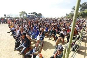 People gather to attend BJPpresident Amit Shah's rally in Lawngtlai on November 20.