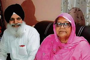 Santokh Singh, 71, brother of victim HardevSingh, with wife