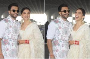 Deepika Padukone and Ranveer Singh spotted at the Mumbai airport.