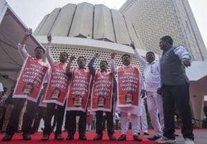 Maratha groups protest against BJP government during the winter assembly session at Vidhan Bhavan.