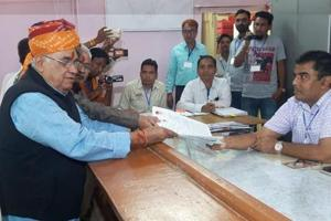 BJP MP Col Sonaram Choudhary filing nomination from Barmer assembly seat on Monday.