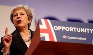British Prime Minister Theresa May delivers her keynote address on the final day of at the Conservative Party Conference in Birmingham, Britain, October 3, 2018.