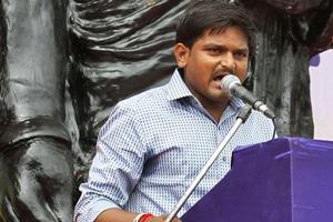 Hardik Patel speaks during a rally in Ahmadabad.