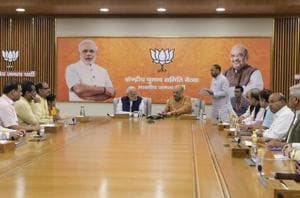Prime Minister Narendra Modi, BJP President Amit Shah and other leaders during the party