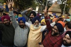 Members of the Sikh community celebrate outside Patiala House after the court sentenced a man to death for killing two persons in the 1984 anti-Sikh riots and injuring three others, in New Delhi, on Tuesday, November 20, 2018.