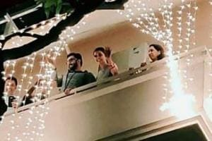 Ranveer Singh and Deepika Padukone spotted on the balcony of her Bengaluru home on Tuesday night.
