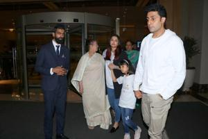 Abhishek Bachchan, Aishwarya Rai and Aaradhya out for a family dinner.