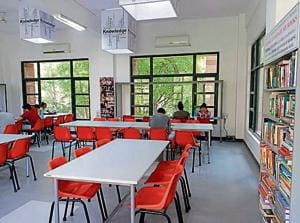 The refurbished library at Moti Bagh boasts new flooring and a variety of books