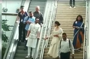 Watch: Viral video of Deepika, Ranveer at Bengaluru airport