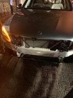 The front portion of Sophie Choudry's Mercedes was damaged after the accident on Tuesday night at Khar