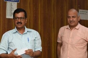 File photo of Delhi Chief Minister Arvind Kejriwal with deputy chief minister Manish Sisodia.