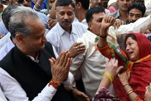Former Rajasthan chief minister Ashok Gehlot during an election campaign in Joodhpur on Wednesday, November 20, 2018.