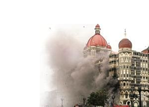 Smoke billows out from the Taj Hotel during the gunbattle between commandos and terrorists, November 26, 2008