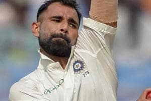 Mohammed Shami bowls during the first test cricket match played between India and West Indies.