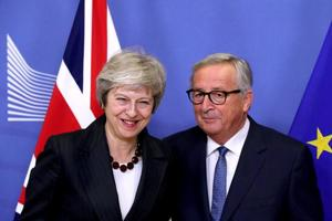British Prime Minister Theresa May and European Commission President Jean-Claude Juncker meet to discuss draft agreements on Brexit.