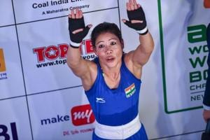New Delhi: Indian boxer MC Mary Kom reacts after defeating China