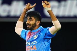 Jasprit Bumrah celebrates the wicket of Australia