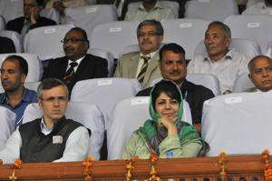 Earlier, former chief minister and PDP patron Mehbooba Mufti (right) staked the claim to form a government with the support of the Congress and the National Conference.