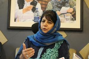 Former chief minister of Jammu and Kashmir and PDP chief Mehbooba Mufti addressing a press conference in Srinagar.