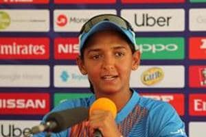 File image of India skipper Harmanpreet Kaur speaking during a press conference.