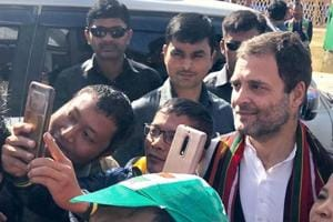 Congress President Rahul Gandhi  with his supporters during an election rally in Champai, Mizoram, Tuesday, Nov 20, 2018.