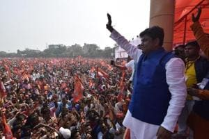 Nishaad leader Mukesh Sahni launching his Vikasheel Insaan Party (VIP) at a rally organised at Gandhi Maidan in Patna earlier this month. Almost 14 % of Bihar's population is Nishaad.