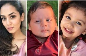 MiraRajput was spotted at the Mumbai airport with her children, two-year-old Misha and few months' old, ZainKapoor.