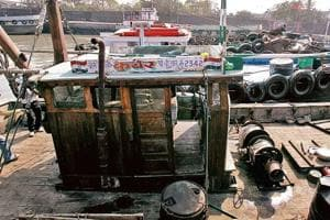A visual of the boat, MV Kuber, that was used by the attackers to mount the 26/11 strikes, as seen at Malet Bunder near Ferry Wharf in Mumbai.