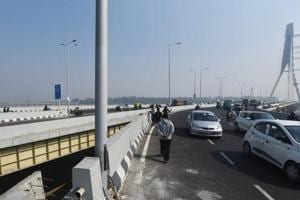 The accident spot on the Signature Bridge in Delhi. Two bikers were killed in the accident on Friday.