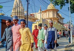 Ayodhya: People walk on a street, in Ayodhya