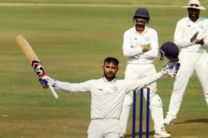 Nagpur: Baroda batsman Aditya Maghmode celebrates after completing his century during the Ranji Trophy cricket match against Vidarbha, in Nagpur, Thursday, Nov. 22, 2018. (PTI Photo) (PTI11_22_2018_000086B)