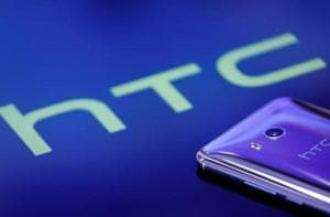 """A HTC """"U11"""" smartphone is displayed in this illustration photo taken August 1, 2017."""