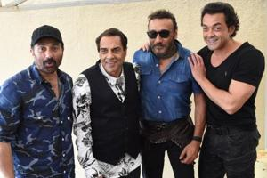 Actors Sunny Deol, Dharmendra, Jackie Shroff and Bobby Deol during the promotion of  Yamla Pagla Deewana Phir Se in Mumbai.