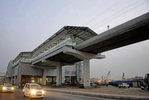 A view of metro station at sector 71, in Noida