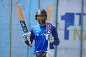 Indian cricketer Rohit Sharma takes part in a practice session.