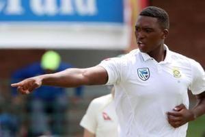 File image -South Africa's Lungi Ngidi celebrates taking the wicket