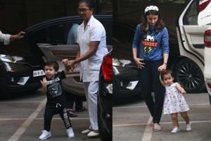 Taimur Ali Khan, Inaaya Naumi Kemmu spotted at their playschool.