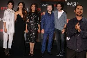Freida Pinto, Kareena Kapoor, Madhuri Dixit, Andy Serkis, Anil Kapoor and Christian Bale at the press conference of Netflix's Mowgli: The Legend of the Jungle in Mumbai.