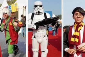 Cosplayers at the 2017 Comic Con in Delhi.