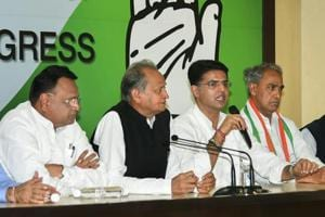 Rajasthan Congress chief Sachin Pilot with senior leader and former Rajasthan CM Ashok Gehlot.