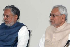 Chief minister Nitish Kumar, deputy CM Sushil Kumar Modi with others at a meeting to review functioning of different departments, in Patna on Saturday