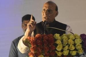 Union minister Rajnath Singh addressing an international conference organised by AIPTF in Gaya on Saturday
