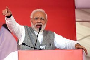 Prime Minister Narendra Modi addresses a public rally ahead of Madhya Pradesh assembly elections on Saturday.