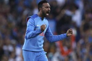 Krunal Pandya celebrates after taking the wicket of Australia