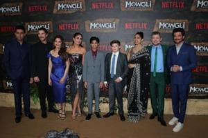 Abhishek Bachchan, Christian Bale, Madhuri Dixit, Kareena Kapoor Khan, Rohan Chand, Freida Pinto, Andy Serkis and Anil Kapoor at the world premiere of Mowgli: Legend of the Jungle in Mumbai.